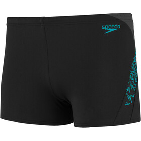 speedo Boom Splice Short de bain Homme, black/aquasplash/oxid grey
